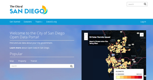 Screenshot of San Diego's old open data portal